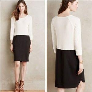 Anthropologie Amadi White Black Stretch Dress